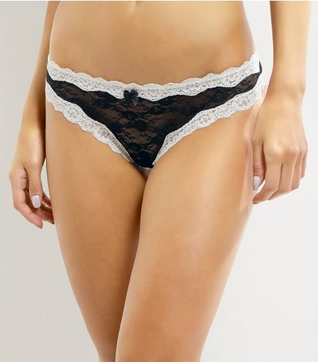 Black Contrast Lace Trim Thong | New Look