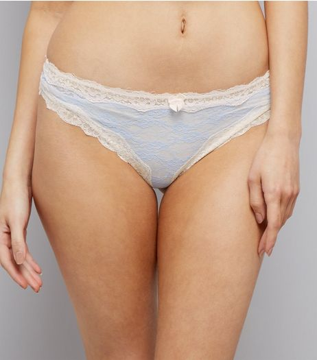 Pale Blue Lace Trim Thong | New Look