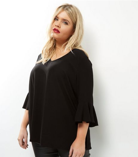 Curves Black Cross Back Bell Sleeve Top | New Look