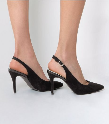 Black Suedette Sling Back Pointed Heels | New Look