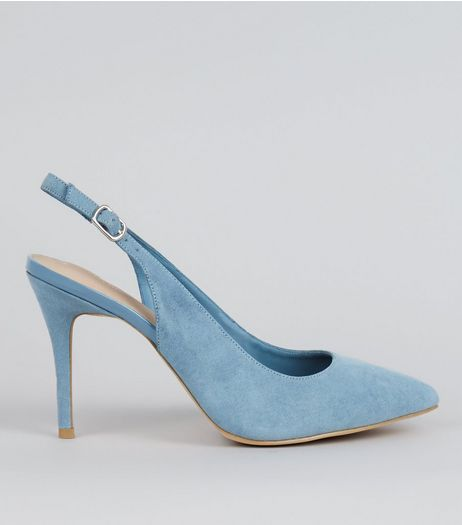 Blue Comfort Suedette Sling Back Pointed Heels | New Look