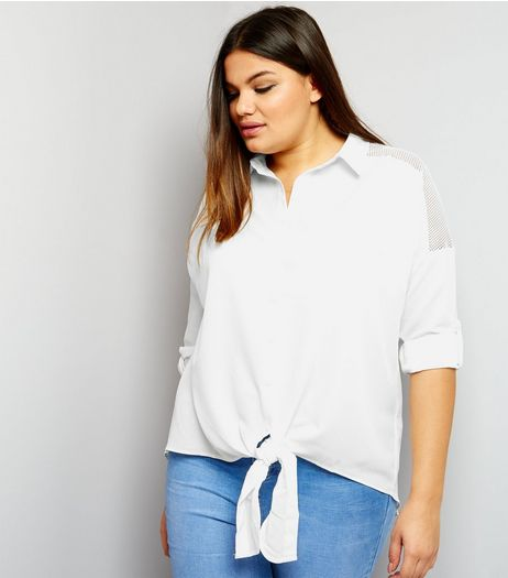 Curves Cream Tie Front Mesh Panel Shirt | New Look