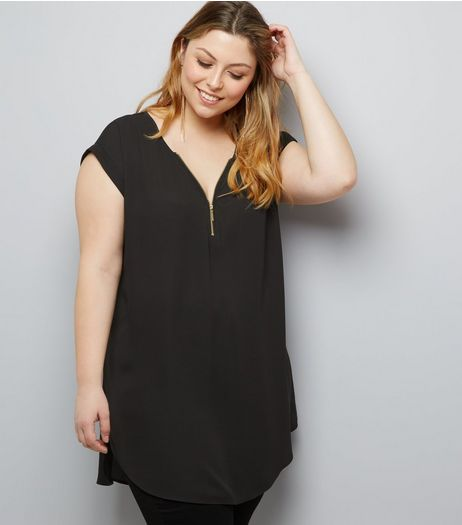 Curves Black Zip Front Tunic | New Look