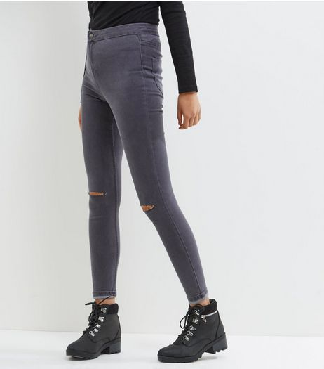 Dark Grey Ripped Knee High Waist Super Skinny Jeans | New Look