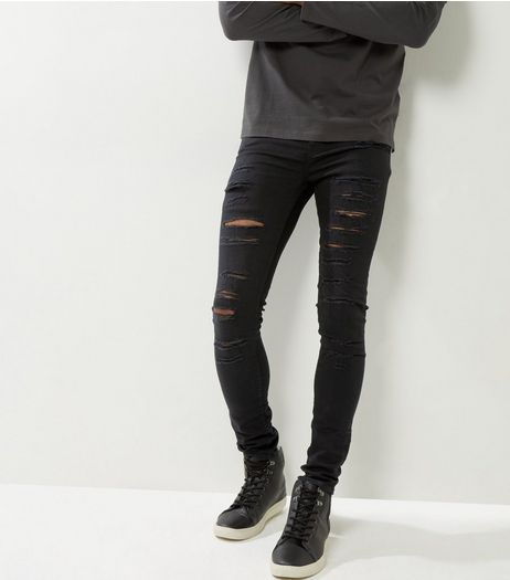 Black Extreme Ripped Super Skinny Jeans | New Look