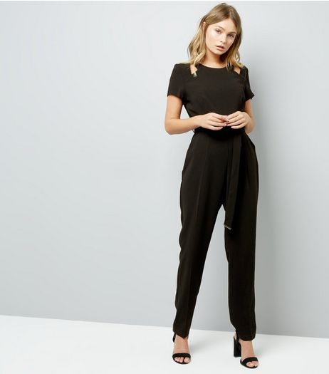 Black Cut Out Shoulder Jumpsuit | New Look