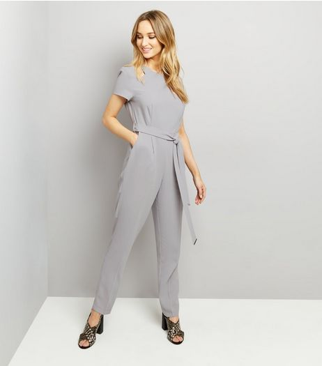 Dark Grey Tie Waist Jumpsuit  | New Look