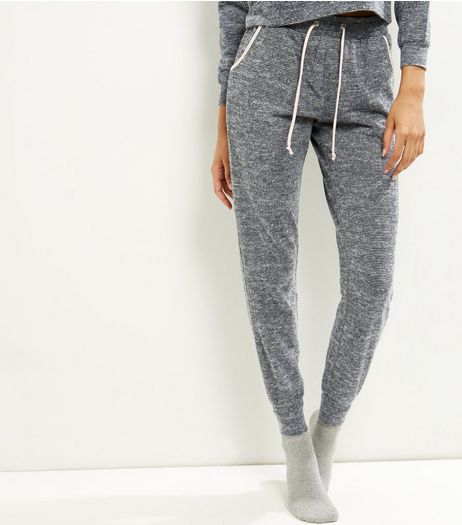 Grey Stripe Sateen Trim Lounge Joggers | New Look