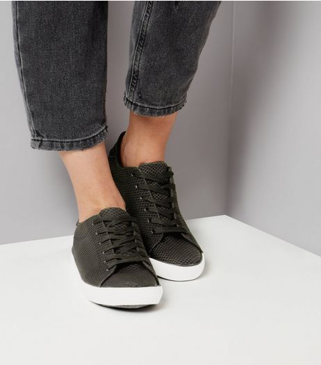 Black Snakeskin Texture Lace Up Trainers | New Look