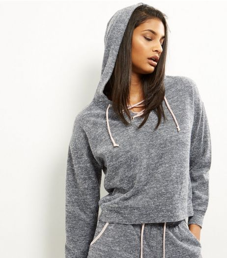 Grey Stripe Ribbon Lattice Hoodie | New Look