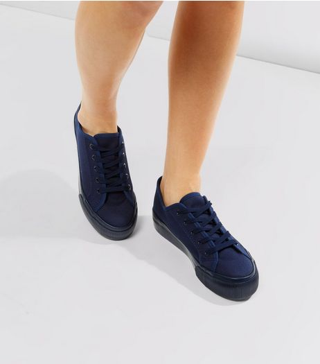 Navy Lace Up Platform Trainers | New Look