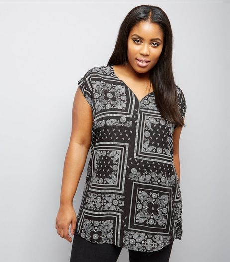 Cuves Black Paisley Print Zip Front Tunic | New Look