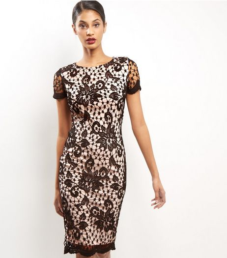 AX Paris Black Floral Lace Bodycon Midi Dress | New Look