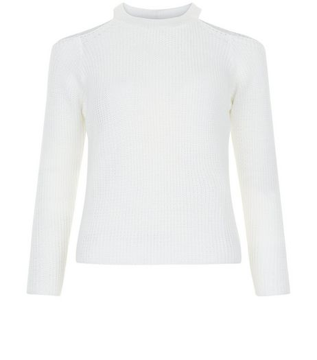 Teens Cream Ribbed Cold Shoulder Jumper | New Look