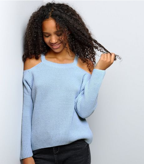 Teens Pale Blue Ribbed Cold Shoulder Jumper | New Look