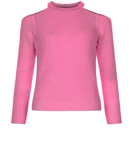 Teens Mid Pink Ribbed Cold Shoulder Jumper  | New Look