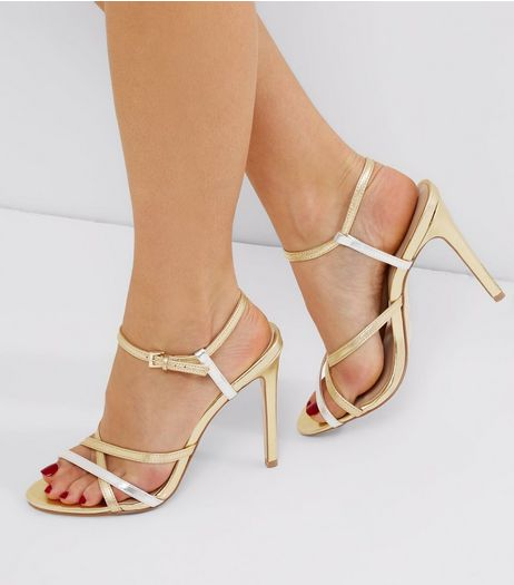 Gold Leather Contrast Strappy Heeled Sandals | New Look