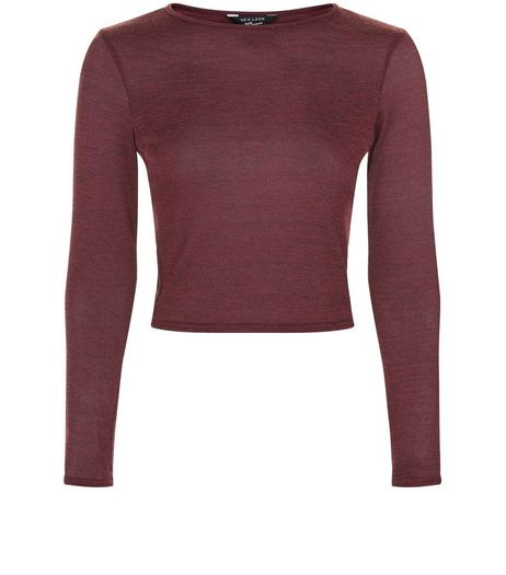 Teens Burgundy Lattice Side Long Sleeve Top | New Look