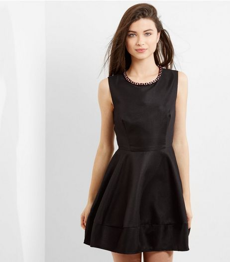 Blue Vanilla Black Embellished Neck Skater Dress | New Look