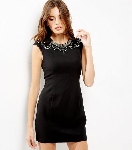 Blue Vanilla Black Embellished Neck Bodycon Dress | New Look