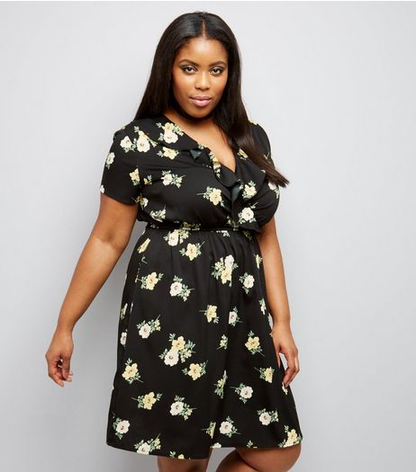 Curves Black Floral Frill Trim Wrap Front Dress | New Look