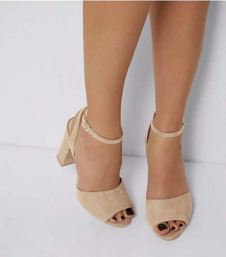 Mink Suedette Ankle Strap Block Heels | New Look