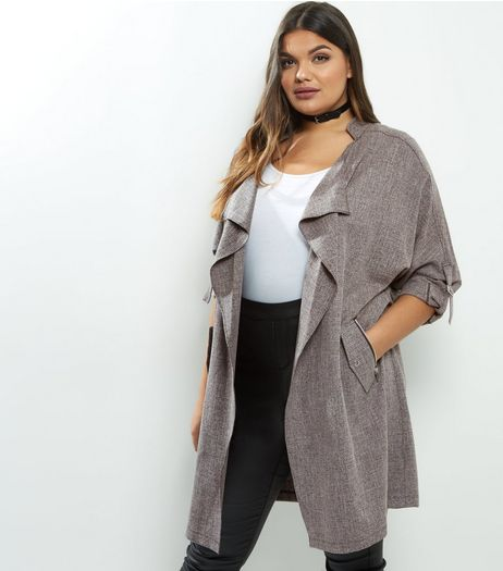 Curves Grey Cross Hatch Waterfall Duster Coat | New Look