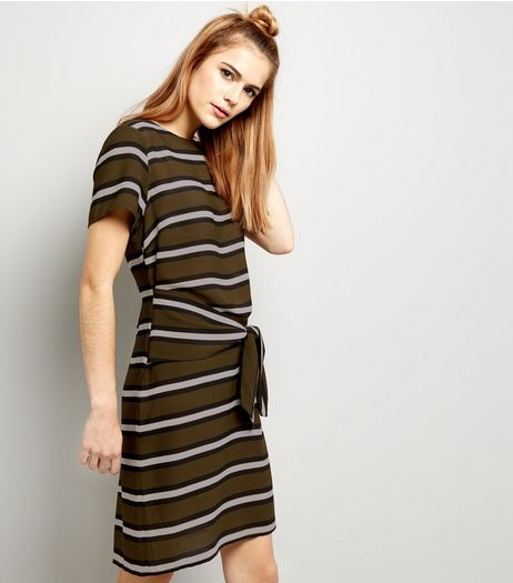 Dark Green Stripe Tie Waist Tunic | New Look