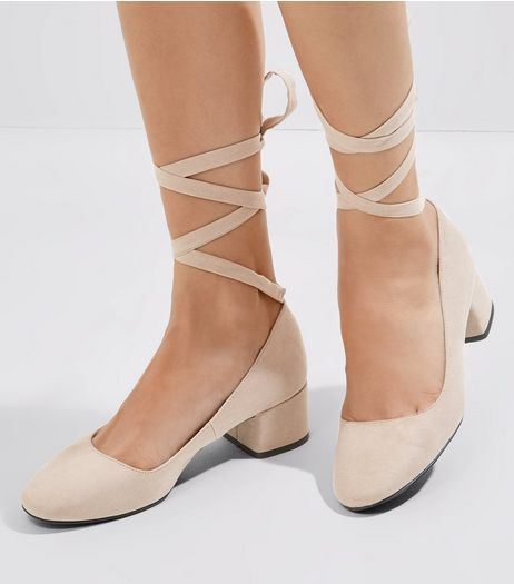 Mink Suedette Tie Up Mini Block Heels | New Look
