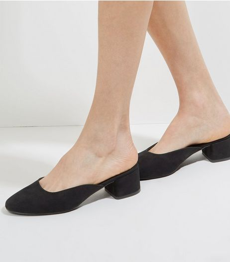 Black Suedette Mini Block Heeled Mules | New Look