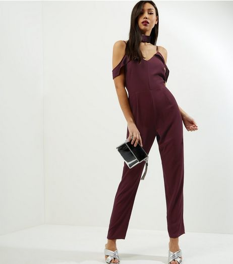 Burgundy V Neck Cold Shoulder Jumpsuit  | New Look