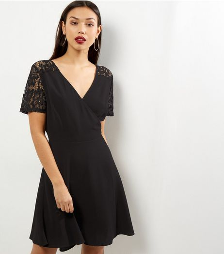 Black Lace Panel Wrap Front Dress | New Look