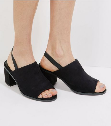 Black Suedette Elasticated Sling Back Heels | New Look