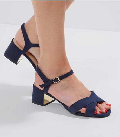Wide Fit Navy Comfort Metal Trim Mini Heeled Sandals | New Look