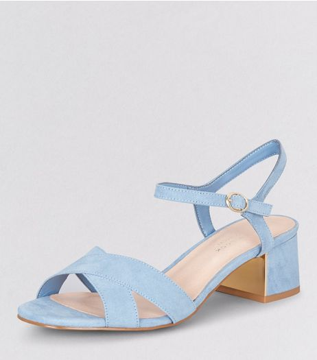 Wide Fit Blue Comfort Metal Trim Mini Heeled Sandals | New Look