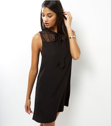Black Lace Panel Sleeveless Tunic  | New Look