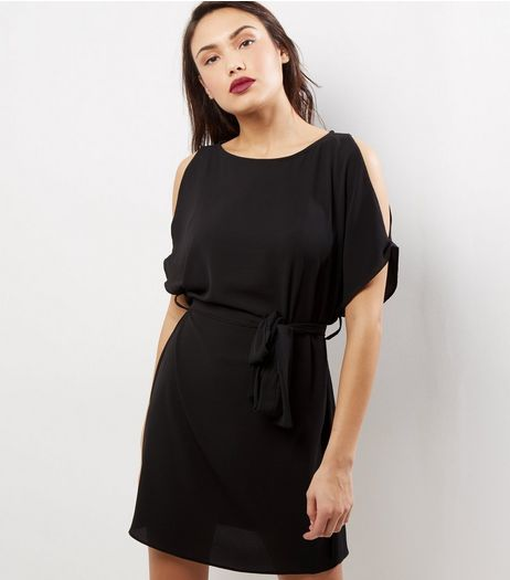 Black Cold Shoulder Belted Tunic Dress | New Look