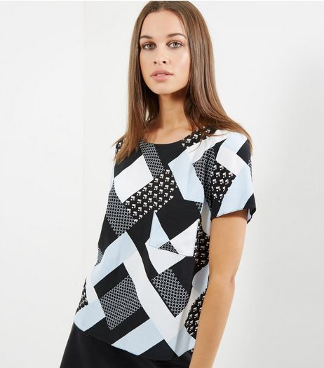 Tall Blue Geometric Print Pocket Front Top | New Look