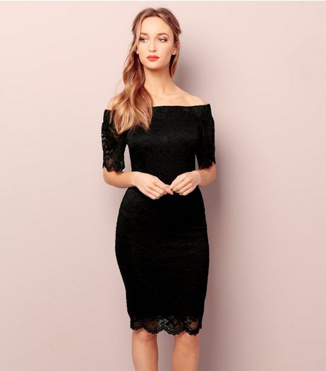 Black Bardot Neck Lace Bodycon Dress | New Look