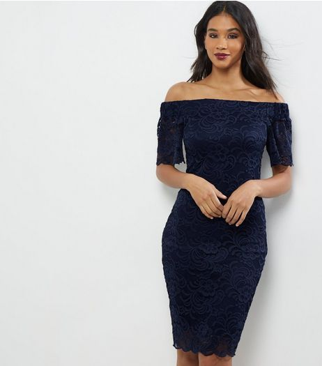 Navy Lace Bardot Neck Bodycon Dress | New Look