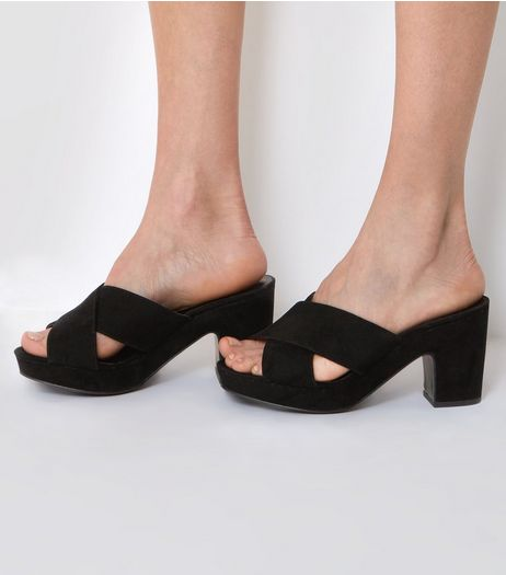 Wide Fit Black Cross Front Platform Mules | New Look