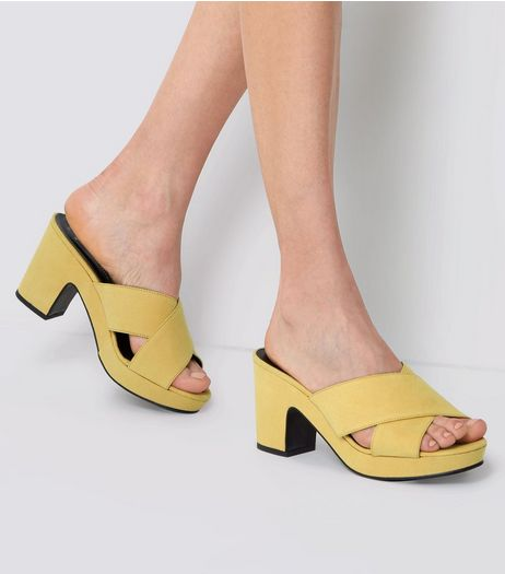 Wide Fit Yellow Cross Front Platform Mules | New Look