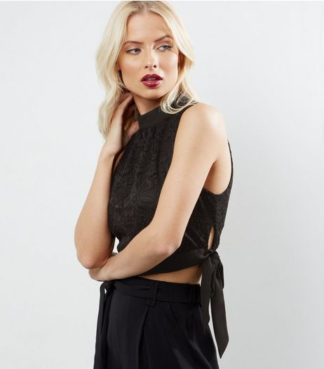 Black Lace Tie Side Crop Top  | New Look