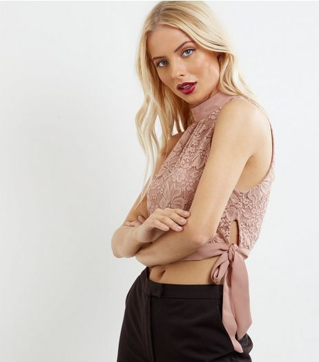 Mid Pink Lace Tie Side Crop Top  | New Look