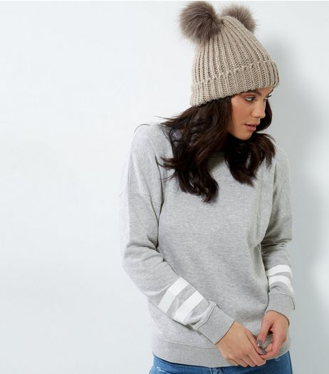 Tall Grey Double Stripe Sleave Sweater | New Look