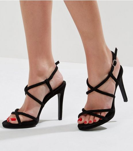 Black Suedette Tube Strap Heeled Sandals | New Look