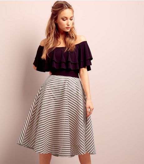 Shell Pink Mesh Contrast Stripe Midi Skirt  | New Look