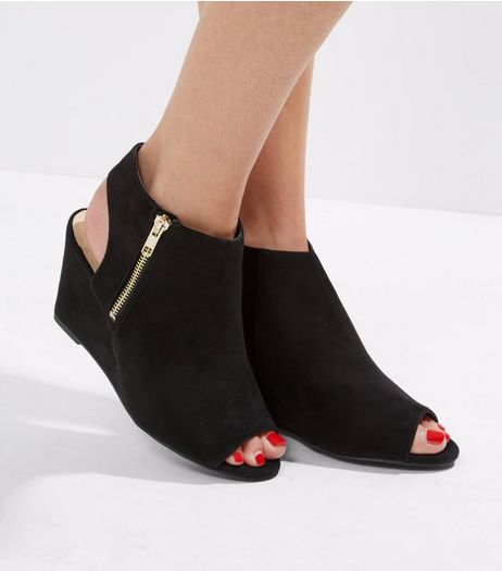 Wide Fit Black Comofrt Peep Toe Open Back Heeled Wedges | New Look