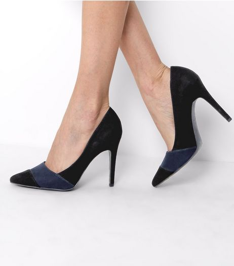 Black Suedette Contrast Stripe Pointed Heels | New Look