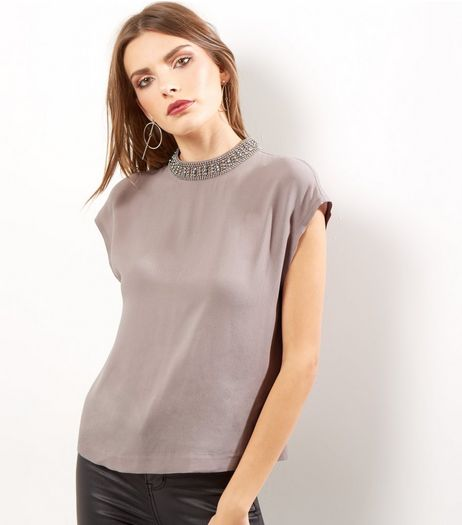 Mink Embellished Neck T-Shirt | New Look